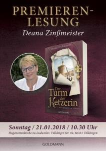 Plakat Zinssmeister_Turm der Ketzerin_Buchpremiere
